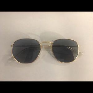 Hexagon Shape Gold Sunglasses